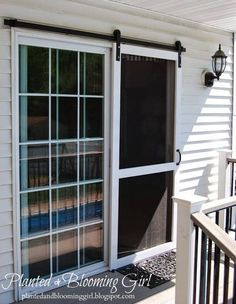 13 Country Chic Ways to Refresh a Screen Door Include some barn style to the back of your home by installing a sliding screen door. Get the tutorial at Planted and Blooming Girl.<br> Because it's not a country house without a screen door. Diy Screen Door, Sliding Screen Doors, Screens For French Doors, Replacement Sliding Screen Door, Exterior Sliding Doors, Exterior French Doors, Hanging Screen Door, Outdoor French Doors, Exterior Patio Doors