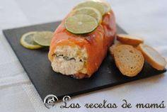 Enrollado de salmón ahumado con pepinillos y ensaladilla tártara | Las recetas de mamá.es