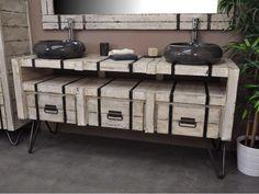 Meuble double sous vasque loft mindi et métal 160 blanc Bonareva prix Meuble de salle de bain La Redoute 1547,25 €
