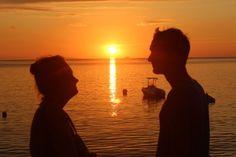 Romantic Evening evening sun sets from Lanas Beach Resort Carabao Island, Romblon