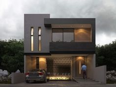 Modern house plans offer a great alternative to the more traditional styles.Unlike age-old properties, new apartments and homes are built to optimize the comfort of modern housing. Modern Small House Design, Modern Exterior House Designs, Modern House Facades, Bungalow House Design, House Front Design, Minimalist House Design, Dream House Exterior, Modern Architecture House, Modern House Plans
