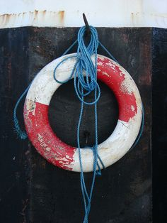Red White and Blue. Lifesaving bouy and rope.
