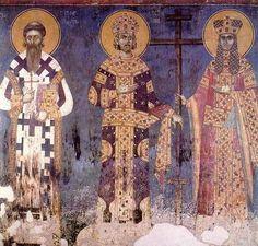 14th Century.fresco of S.Sava of Serbia,Constantine the Great and Helen,Gracanica Monastery,Kosovo.