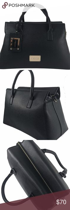 """BEBE Susana Shopper Large Satchel tote Large Bebe satchel has removable shoulder strap. Plastic wrap still covering straps, bebe name plate and accessory. There are three fully lined compartments in the bag. The center compartment zips. The other two on each side also have smaller interior pockets and one of those pockets zip. Zippers have """"bebe"""" engraved on them and the bag even has feet! Roughly 15"""" x 9"""" (not including handles) x 7.5"""" Very good sized bag!! 💕 bebe Bags"""
