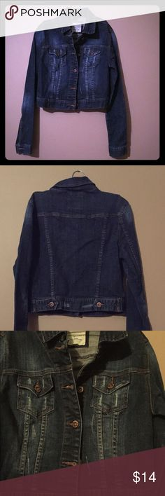Blue Denim Distressed Cropped Jacket Heritage 1981 brand distressed cropped blue jean jacket. Junior's small. Worn a few times but in great condition! Heritage 1981 Jackets & Coats Jean Jackets