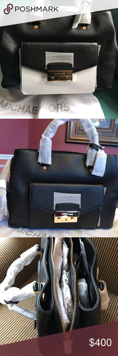 """MICHAEL KORS HALEY SATCHEL Authentic Michael KORS Large Haley Satchel is new with tags and still wrapped. signatures pebble black leather, gold tone hardware, multiple compartments/zip top/adjustable cross-body straps 25"""" with tote handles. Bag have never been used and closet stored/Excellent condition/Clean and smoke free household. Michael Kors Bags Satchels"""