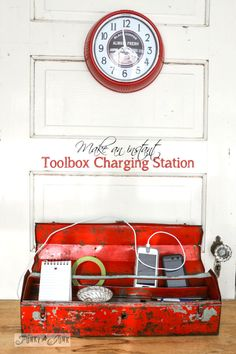 Make an instant toolbox charging station for your iPhone! Also info how to degrease and protect old, chippy metal.  via http://www.funkyjunkinteriors.net