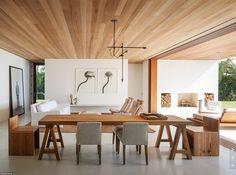 White VCT floor & wood panel ceiling?  via Mid-Century Modern Freak | House in Florida | Design:1100 Architect |Palm...