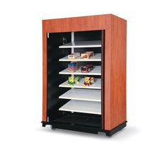 """Vollrath 5' Snack Merchandising Cabinet wood composite material (WCM) construction - 75734W   5' Snack Merchandising Cabinet, wood composite material (WCM) construction, choice of 4 pre-laminate colors: harvest cherry, natural maple, castle oak or black (must specify color below), with matching toe kick, indoor cart base with heavy duty casters, 1"""" Boston bumper (all sides) color will match base color selected, wing wall door with lock, pull out melamine shelves for candy boxes"""
