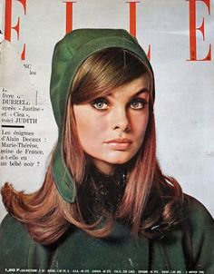Cover:Model Jean Shrimpton is wearing a Creation of André Courrèges.  French ELLE,January 1965.