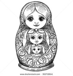 Image Matryoshka dolls. Vector black and white illustration. - stock vector