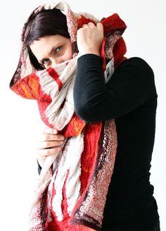 Red orange linen wrap / versatile accessory by ArianeMariane