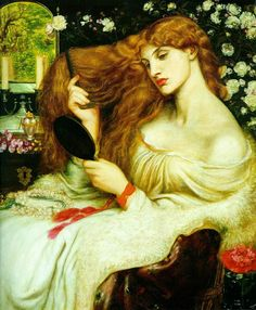"""Lady Lilith, (altered Dante Gabriel Rossetti Oil on canvas. """"Lady Lilith is an oil painting by Dante Gabriel Rossetti first painted in using his mistress Fanny Cornforth as the model, then altered in to show the face of Alexa Wilding. Dante Gabriel Rossetti, John Everett Millais, Renaissance Kunst, Renaissance Artists, Renaissance Paintings, Pre Raphaelite Paintings, Pre Raphaelite Brotherhood, Edward Burne Jones, Victorian Art"""