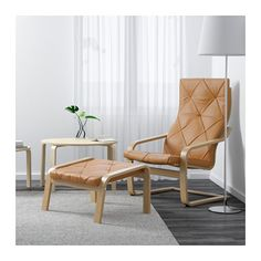 IKEA POÄNG armchair Highly durable full-grain leather which is soft and has a natural look and feel.