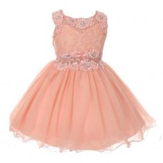Big Girls Peach Glitter Rhinestone Adorned Tulle Junior Bridesmaid Dress 8-14