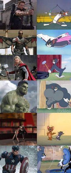 Tom was the ultimate Avenger - Marvel Universe Marvel Jokes, Films Marvel, Funny Marvel Memes, Dc Memes, Avengers Memes, Cartoon Memes, Crazy Funny Memes, Really Funny Memes, Funny Comics