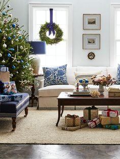 The dreamiest coastal Christmas living room decor!