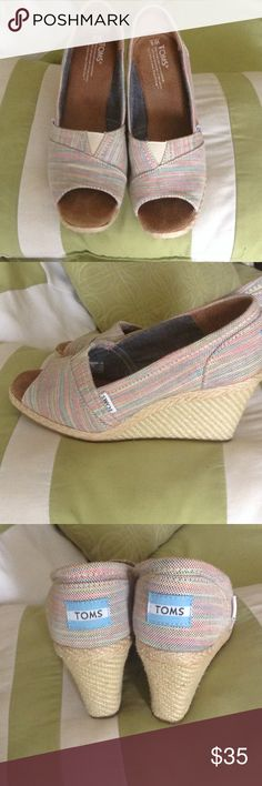 💕💕💕super cute TOMS wedges Gently worn twice pastel striped TOMS wedges size 8 Toms Shoes