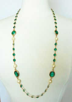 Kenneth Jay Lane Gilt Metal Necklace with Emerald Green Crystals and Pearls 80s