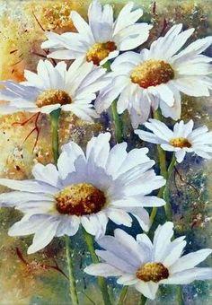 Honey I'm Crazy for Daisy☆ Watercolour Painting, Watercolor Flowers, Painting & Drawing, Watercolors, Daisy Painting, Arte Floral, Art Pictures, Painting Inspiration, Flower Art