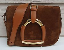 NEW $1500 Ralph Lauren Collection Equestrian Leather Suede Stirrup Brown
