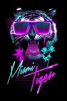 Discover more of the best Tiger, Art, Design, Miami, and Print inspiration on Designspiration New Retro Wave, Retro Waves, Purple Aesthetic, Retro Aesthetic, Vaporwave, Tiger Wallpaper, Hd Wallpaper, In China, Retro Futurism