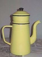 Antique Vintage French Enameled Biggin Coffee Pot - YELLOW, BLACK rims