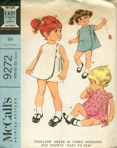 "McCall's 9272 - Toddler's Dress in Three Versions and Shorts. ""Easy To Sew"". Three section front wrapped dress, with or without puffed or plain set-in sleeves, and shorts Source by dress for kids Childrens Sewing Patterns, Kids Patterns, Sewing For Kids, Vintage Sewing Patterns, Dress Patterns, Apron Patterns, Clothing Patterns, Vintage Kids Fashion, Vintage Kids Clothes"