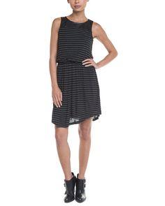 Spotted this Splendid Black Stripe Faux Leather Yoke Dress on Rue La La. Shop (quickly!).