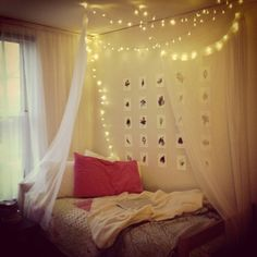 Dorm Room. Hang lights from my bed over my desk