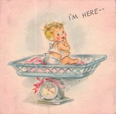 Vintage Birth Announcement - 'I'm Here'