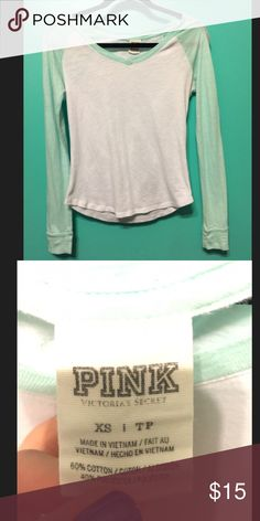 Pink VS shirt Really cute pink Vs white and mint colored shirt size XS in good used condition no stains on the white! PINK Victoria's Secret Tops Tees - Long Sleeve