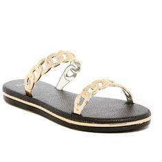Dizzy Union Link Slider A comfortable slide on designer shoe.  Black base and gold links. Dizzy Shoes Sandals