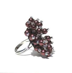 Grape Purple acrylic pearl and seed bead ring by SassyBelleWares, $25.00
