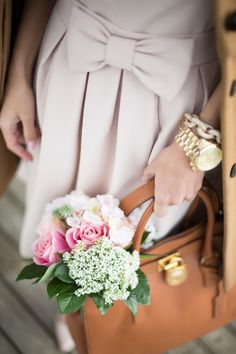 michael kors hamilton tote, pink + larkin bow dress and michael kors watch gold color