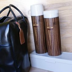 faux wood thermos set