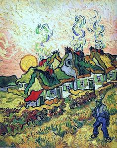 Vincent van Gogh, Thatched Cottages in the Sunshine, Reminiscence of the North, 1890