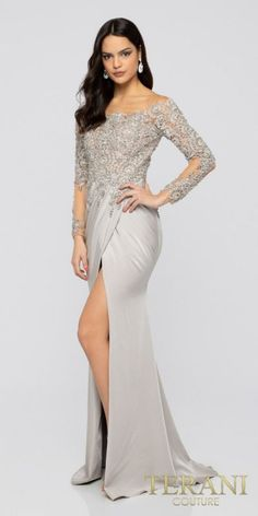 3b02d9d28262a Illusion Off the Shoulder Beaded Mock Wrap Evening Dress by Terani Couture