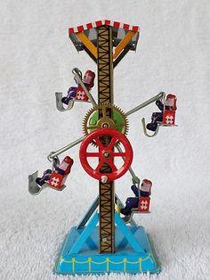 Vintage Crank Wind Up Tin Litho Ferris Wheel Mechanical Toy