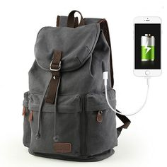 Flap Travel Canvas Backpack With USB Interface Drawstring Large Capacity Camping  Rucksack Camping Rucksack 90b88340eb2be