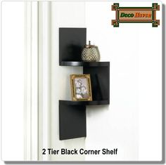 2 Tier Black Corner Shelf   The Corner Of Your Room Is No Longer Wasted  Space