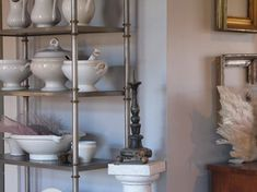"""Collection of French ironstone & creamware found at flea markets in Belgium & France. 1870s and 1880s - American potters began to manufacture their own white dinnerware called """"granite ware."""" In attempt to boost sales, many American potters produced unmarked goods or used marks that resembled the English imports."""