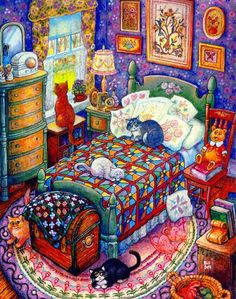 Bill Bell World of Art, Bill Bell art, Bill Bell illustrations, Bill Bell prints, Bill Bell books. I Love Cats, Crazy Cats, Bell Art, Lots Of Cats, Cat Quilt, Here Kitty Kitty, Cat Drawing, Whimsical Art, Art World