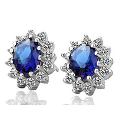 Fashion Luxury Blue Crystal Women Stud Earrings Kate Princess Wedding Silver Color Lady Charm Jewelry