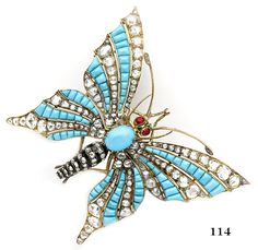 Edwardian Turquoise, rose-cut diamond, ruby, silver and gold butterfly brooch. French.