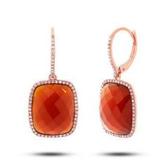 0.37ct Diamond & 14.85ct Red Agate 14k Rose Gold Earrings