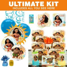 Disney Moana Ultimate Birthday Party Hoopla  Tableware Kit (Serves 8) #moana #birthday #girlsparty