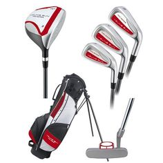 Young Gun PRO Green Lefty Junior Golf Club Set and Bag (for player heights to Junior Golf Clubs, Forever Red, British Open, Golf Club Sets, Young Guns, Sports, Bags, 42 Inch, Outdoors