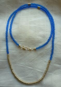 Gold & Sapphire Bead Necklace