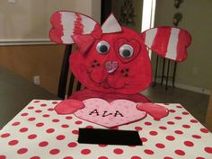 Ava's Valentine Card holder for preschool - we made it together!